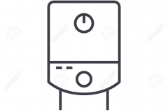 gas tank, water boiler vector line icon, sign, illustration on background, editable strokes